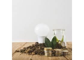 带玻璃瓶和硬币堆的灯泡_3064033