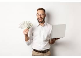 商务和电子商务自信的商人展示如何在网_11651813