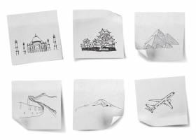 在白纸上绘制环游世界的图画日本印度_1007997