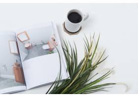 一本杂志和植物旁边的桌子上放着一杯咖啡_11678175