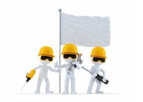 一群手持旗帜的建筑工人_1178739