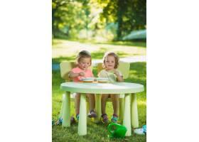两个小女孩坐在一张桌子旁一起在绿色的草_8049766