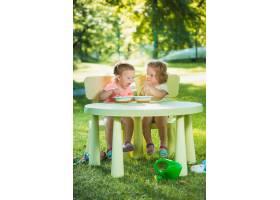 两个小女孩坐在一张桌子旁一起在绿色的草_8049767