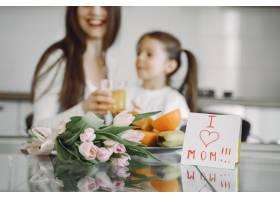 母亲带着女儿在家_8355446