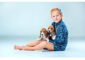 快乐的女孩和两只小猎犬_8413442