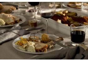 美味感恩节大餐的高角度_9465770