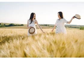 田野里两个穿着白色连衣裙留着长发的姐妹_9658827