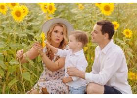 幸福的年轻家庭母亲父亲和儿子在向日_9409634