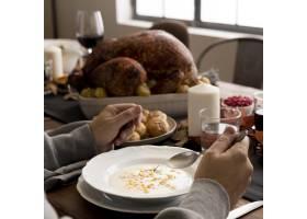 为感恩节特写准备的食物_9546337