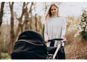 年轻的母亲推着婴儿车在公园里散步_8380409