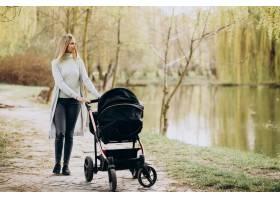 年轻的母亲推着婴儿车在公园里散步_8380413