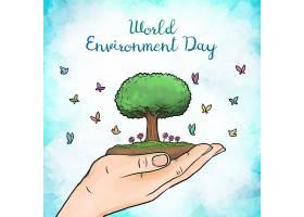 水彩画世界环境日绘画_7680717