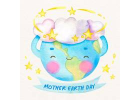 水彩画可爱母亲地球日_7089555