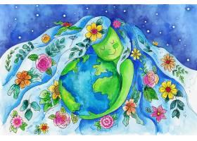 水彩画地球母亲日插图_12805015