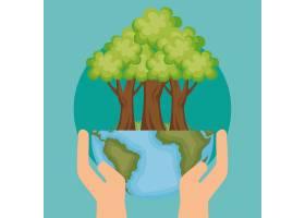 带有树木生态图标的世界星球_5415660