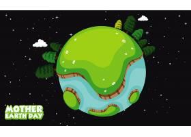 地球母亲日插图设计与地球上的许多树木_6911907
