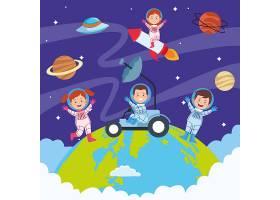空间里有孩子的儿童节快乐贺卡_6013595