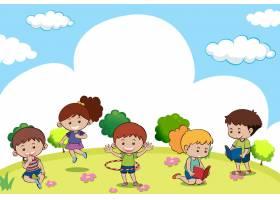 许多孩子做不同活动的场景_1504474