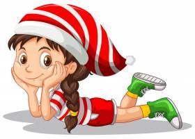 身穿圣诞服装的可爱女孩卡通形象_11829702