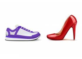 运动鞋VS高跟鞋写实构图显示女性舒适休闲鞋_7286342