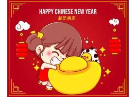 祝你春节快乐萌妹手持中国黄金牛年生肖_11864855