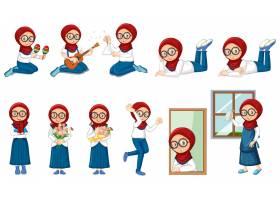 穆斯林女孩在白色上做许多活动_6912610