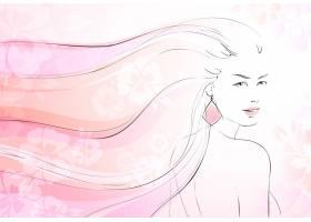 柔和的花朵背景年轻女孩和长卷发向量插图_1158171