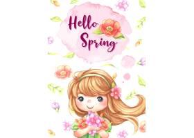 水彩画可爱女孩手持鲜花插图娃娃小公主_13554818