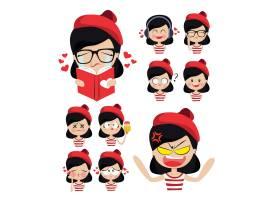 戴着红帽子的可爱女孩和她的情感_872807