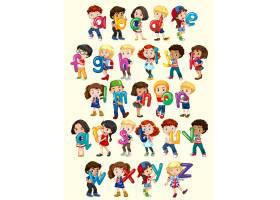 带英文字母插图的男孩和女孩_1169202