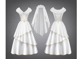 带薄纱面纱的白色婚纱礼服_6641256