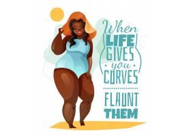 外加尺码女人戴帽子和蓝色泳衣海报并附有_6787195