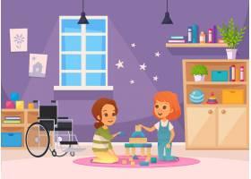 包容全纳教育漫画作文两个孩子坐在房间里玩_7251195