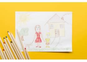 单亲妈妈在黄色背景上的可爱画作_7405092