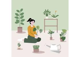 这个女孩坐在不同种类的树木和园艺材料旁_13664412