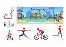 锻炼过程中的一组积极活动的人_6703789