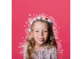 鲜花在小女孩身上涂鸦_5282522