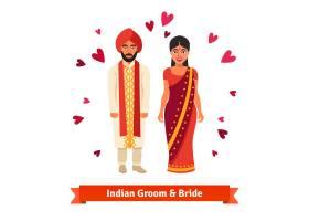 穿着民族服装的印度婚礼新娘新郎_1311190