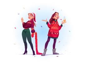 穿着难看毛衣的年轻女子庆祝圣诞节和新年_12620519