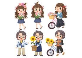 童装6个女孩还配了一辆自行车和鲜花微笑_13554814