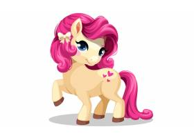 粉色发型的小白马矢量插图_7038510