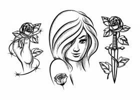 纹身美女小刀玫瑰和铁丝网女性黑人_11054051