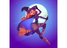 美丽的女巫戴着怪异帽子的红发女人骑着扫_12760715