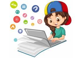 用孤立的教育图标在笔记本电脑上搜索的女孩_11829992