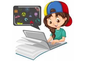 用教育图标在笔记本电脑上搜索的女孩_11690183
