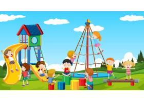 活跃的男孩和女孩在户外进行运动和娱乐活动_6166768
