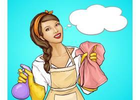 漂亮的家庭主妇为一幅清洁服务漫画做广告_7776008