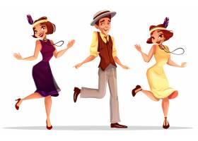 爵士舞演员查尔斯顿戴帽子的中年妇女和男子_3090724