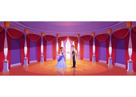 王子和公主在皇家城堡舞厅卡通背景情侣_13243298