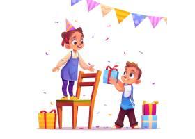 生日女孩收到男孩派对活动的礼物_8599903